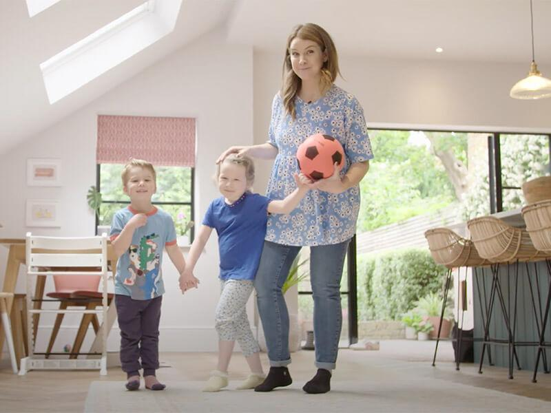 Izzy Judd playing games with her kids
